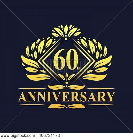 60 Years Anniversary Logo, Luxury Floral Golden 60th Anniversary Logo.