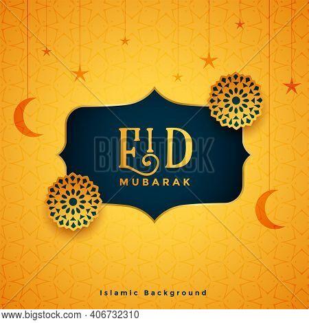Traditional Eid Mubarak Festival Card With Islamic Decoration