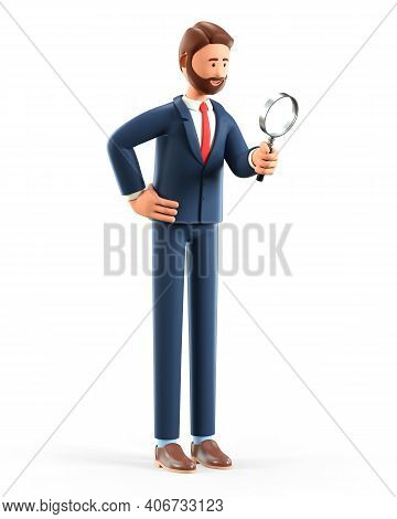 3d Illustration Of Cute Smiling Man Looking Through A Magnifying Glass And Searching For Information