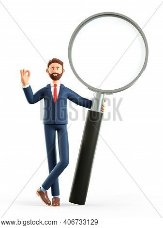 3d Illustration Of Cute Smiling Man Holding A Giant Magnifying Glass And Showing Ok Gesture. Cartoon