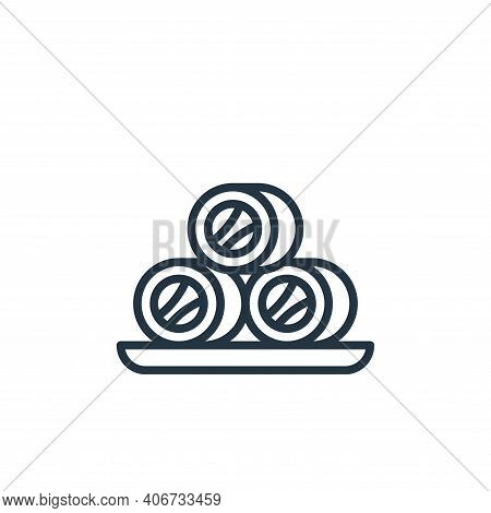 roll fish icon isolated on white background from seafood collection. roll fish icon thin line outlin
