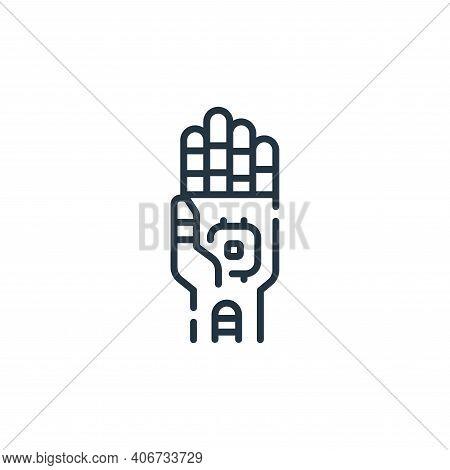 robotic hand icon isolated on white background from robotics collection. robotic hand icon thin line