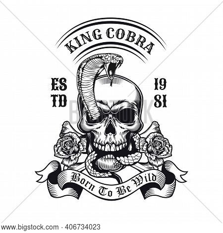 Retro Emblem With King Cobra Appearing From Skull. Monochrome Design Elements With Human Skull, Snak