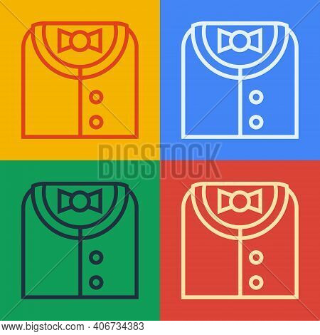 Pop Art Line Suit Icon Isolated On Color Background. Tuxedo. Wedding Suits With Necktie. Vector