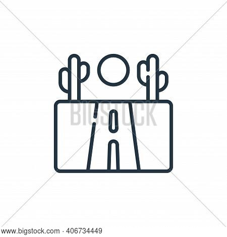 road icon isolated on white background from desert collection. road icon thin line outline linear ro