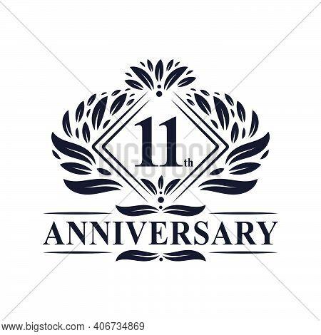 11 Years Anniversary Logo, Luxury Floral 11th Anniversary Logo.