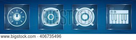 Set Dial Knob Level Technology Settings, Stereo Speaker, Stereo Speaker And Music Synthesizer. Squar