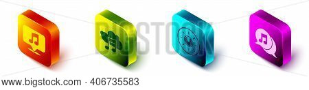 Set Isometric Musical Note In Speech Bubble, Music Streaming Service, Dial Knob Level Technology Set