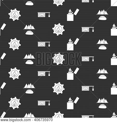 Set Lighter, Oilfield, Oil Industrial Factory Building And Gas Filling Station On Seamless Pattern.