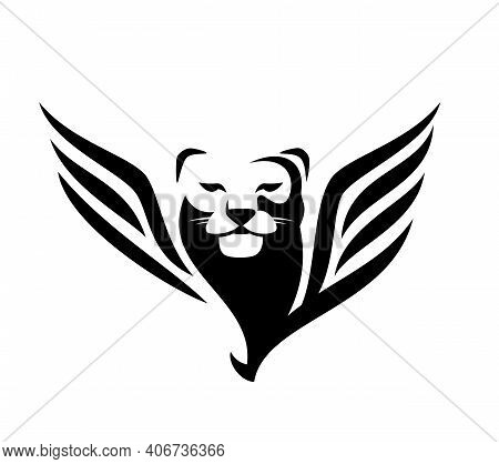 Mythical Winged Lioness Or Puma Black And White Vector Outline Portrait - Animal Head And Bird Wings