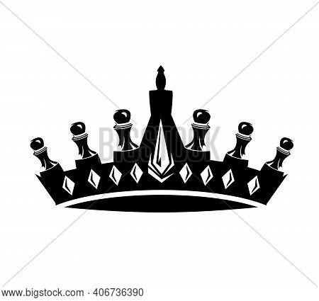 Champion Crown Made Of Chess Pieces - Pawns Making Royal Symbol Black And White Vector Design