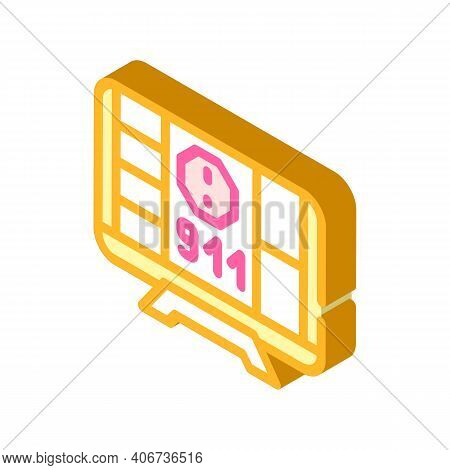 Incident Notification Isometric Icon Vector Illustration Color