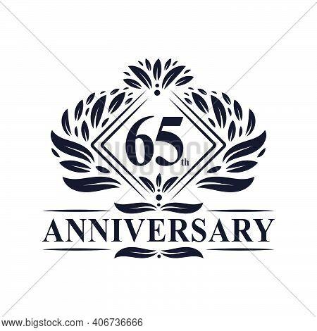 65 Years Anniversary Logo, Luxury Floral 65th Anniversary Logo.