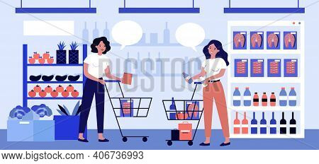 Two Women Talking In Supermarket And Choosing Products. Food, Cart, Retail Flat Vector Illustration.