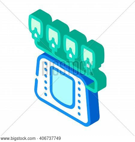 Electrotherapy Equipment Isometric Icon Vector Illustration Color