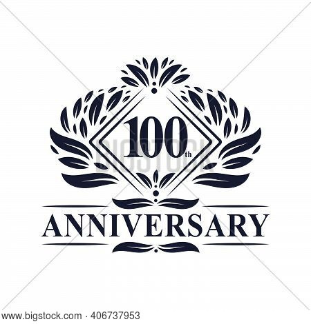 100 Years Anniversary Logo, Luxury Floral 100th Anniversary Logo.