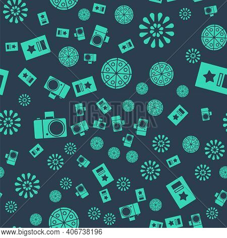 Set Pizza, Firework, Photo Camera And Greeting Card On Seamless Pattern. Vector