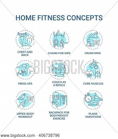 Home Fitness Concept Icons Set. Physical Training Session Idea Thin Line Rgb Color Illustrations. Pr