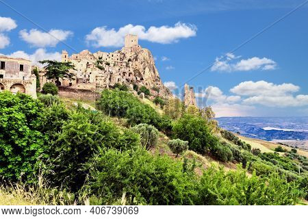 Craco, Italy - Town Abandoned After Landslide In Basilicata Region.