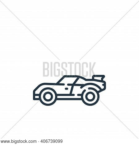 race car icon isolated on white background from auto racing collection. race car icon thin line outl