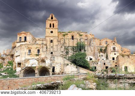 Craco, Italy - Town Abandoned And Forbidden After Landslide In Basilicata Region.