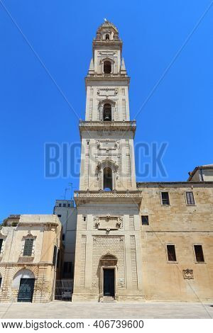 Lecce Cathedral Bell Tower In Italy. Italian Baroque Architecture - Campanile.