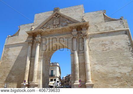 Lecce, Italy - City In Salento Peninsula. Porta Napoli Triumphal Arch.