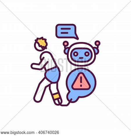 Ai Takeover Rgb Color Icon. Human Replaced With Artificial Intelligence Technology. Labor Problem. R