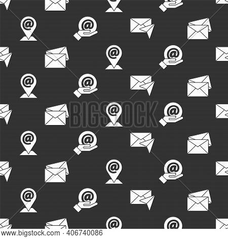Set Envelope, Envelope, Location And Mail And E-mail And Mail And E-mail In Hand On Seamless Pattern
