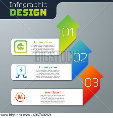 Set Electrical Outlet, Electric Transformer And Electric Circuit Scheme. Business Infographic Templa