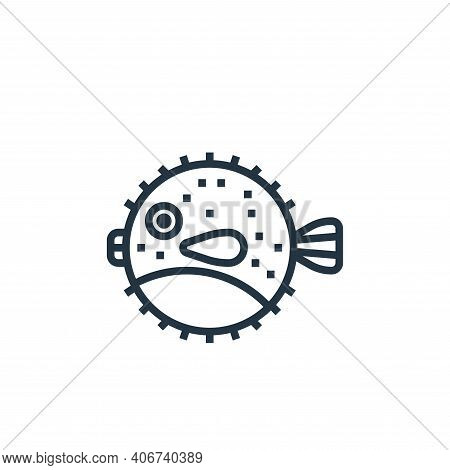 puffer fish icon isolated on white background from seafood collection. puffer fish icon thin line ou