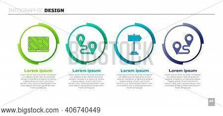 Set City Map Navigation, Route Location, Road Traffic Sign And Route Location. Business Infographic