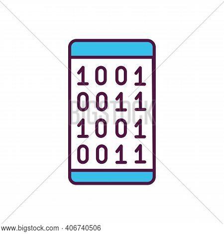Mobile App Software Coding Rgb Color Icon. Data Encryption. Binary Code On Smartphone Screen. Progra