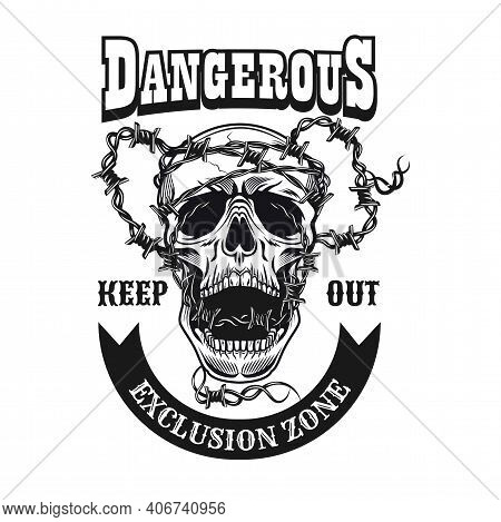 Execution Zone Symbol Design. Monochrome Element With Skull And Barbed Wire Vector Illustration With