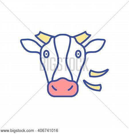 Cow Rgb Color Icon. Domesticated Animal. Farm Cattle, Ranch Livestock. Herbivore, Mammal Animal. Dai