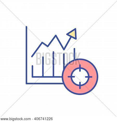 Increasing Diagram Rgb Color Icon. Economic Chart Rising, Financial Graph Growing. Economy Report. B