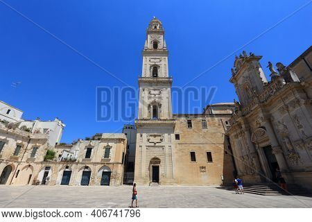 Lecce, Italy - June 1, 2017: Street View In Baroque City Of Lecce, Italy. With 50.7 Million Annual V