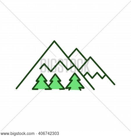 Mountains Rgb Color Icon. Destination For Winter Recreation. Snowy Highlands. Woods Near Mounts. Ski