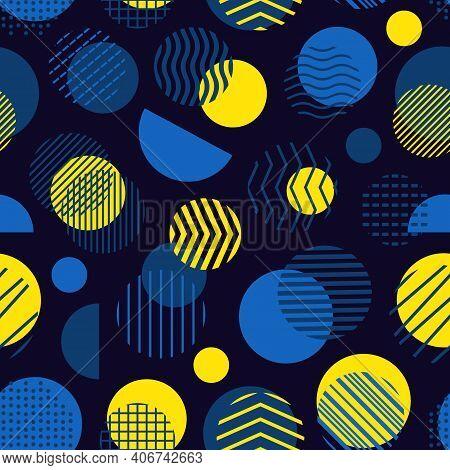 Circle, Polka Dot, Stripe Seamless Pattern. Mixed Texture Irregular Chaotic Shapes Print. Modern Mem