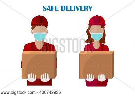Courier With Box Isolated On White Background. Safe Food Or Merchandise Delivery To Home During Coro