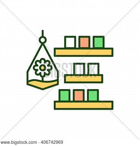 Cosy Interior Rgb Color Icon. Sustainable Biophilic Design For Interior Decoration. Terrarium With P