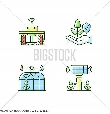 Smart Agriculture Rgb Color Icons Set. Robotics In Farm. Digital Greenhouse. Innovation Technology.