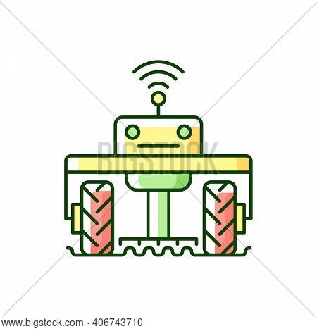 Robotics In Agriculture Rgb Color Icon. Automation In Agronomy Industry. Engineering In Biotechnolog