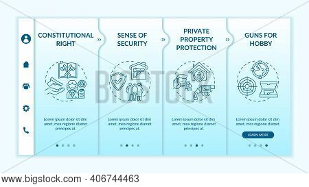 Gun Rights Onboarding Vector Template. Sense Of Security. Property Protection. Constitutional Legisl