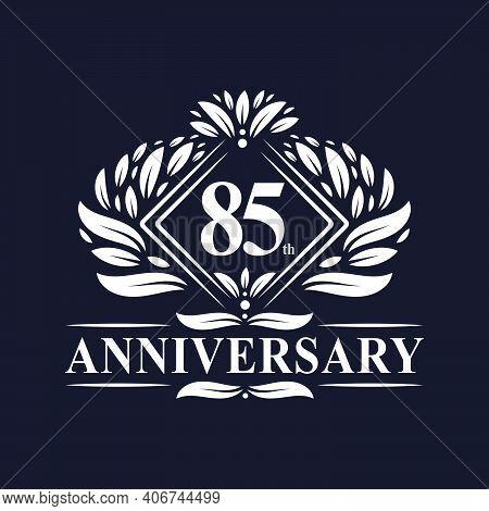 85 Years Anniversary Logo, Luxury Floral 85th Anniversary Logo.