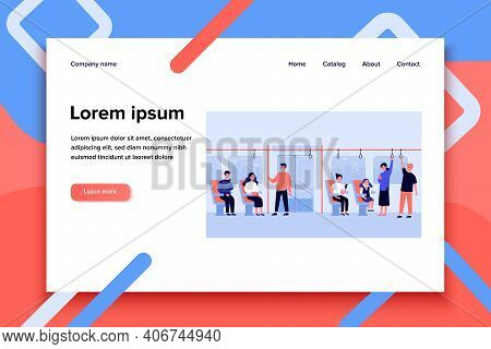 Men And Women Traveling By Bus Or Subway Isolated Flat Vector Illustration. Cartoon Crowd Of People