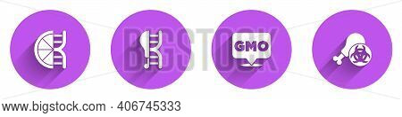 Set Genetically Modified Orange, Chicken, Gmo And Gmo Research Icon With Long Shadow. Vector