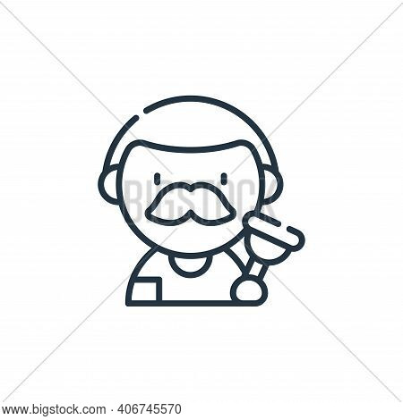plumber icon isolated on white background from labour day collection. plumber icon thin line outline