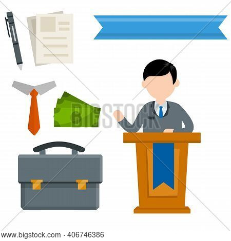 Debate. Political Election. Set Of Business Icons. Man On Rostrum And Podium . Speaker And President