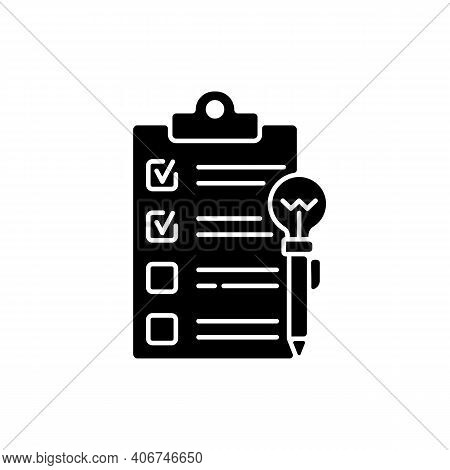 Agenda Worksheet Black Glyph Icon. Workshop Icon. Time Management Tool. Efficient Time Using. Wastin